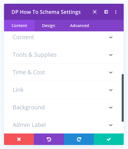 Divi plus how to schema module and its content tab menus that showcase settings to create Divi structured data
