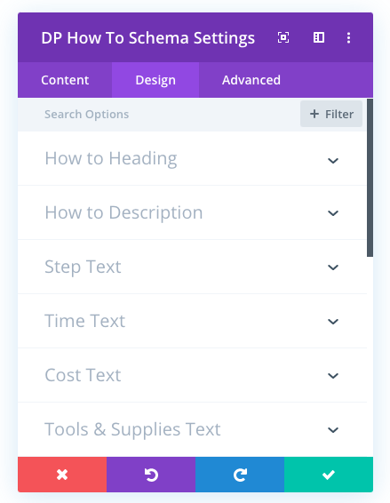 Divi plus how to schema module's design settings to create Divi structured data pages