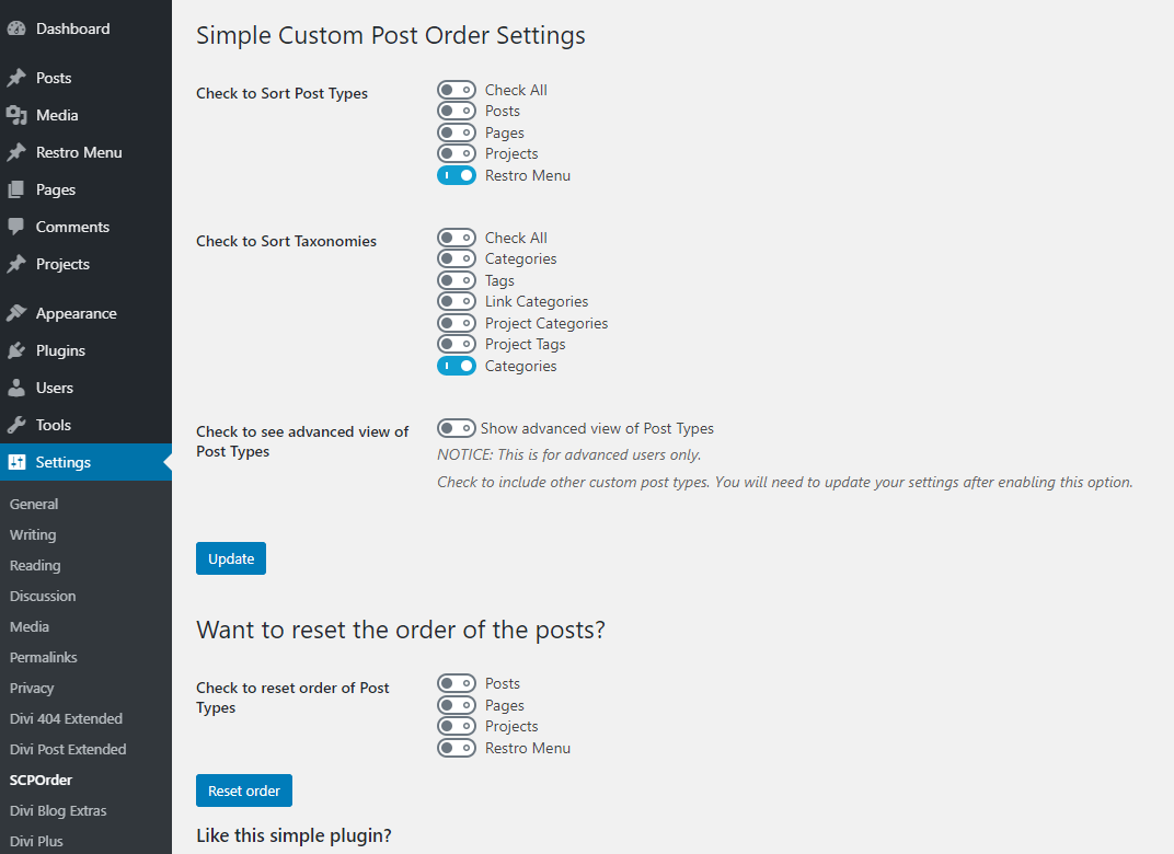 Divi restro menu custom sorting