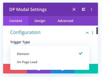 Divi Modal trigger type options