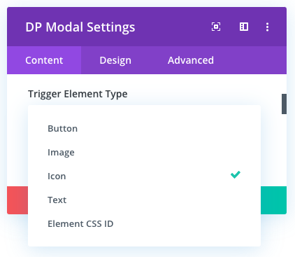 Divi modal element trigger type options