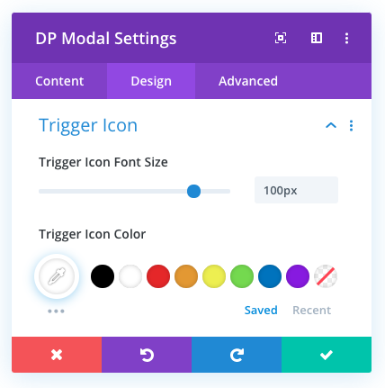 Divi modal icon trigger options
