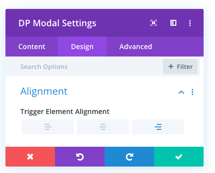 Modal trigger alignment