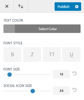 Set footer social icon size