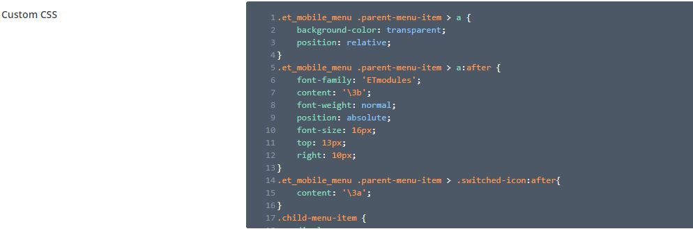 CSS for nested menu