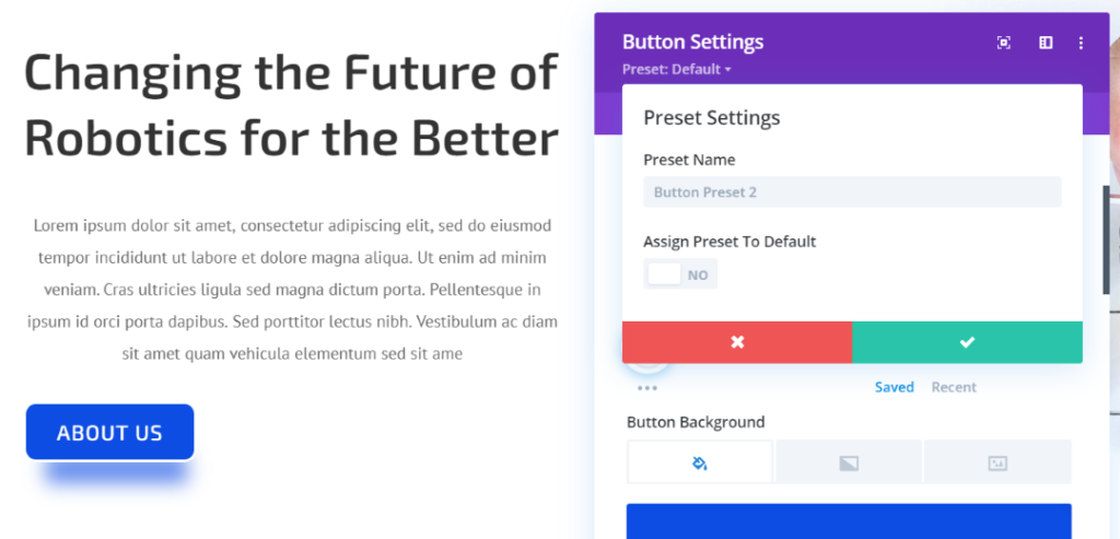 Divi Presets Settings panel