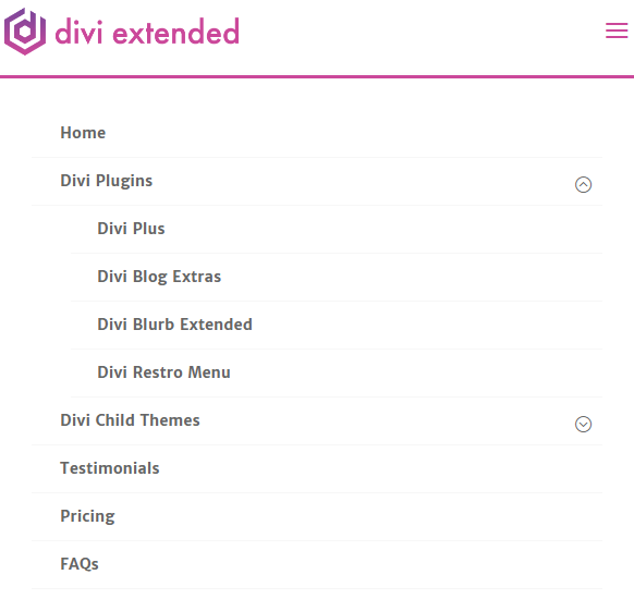 Divi foldable mobile menu