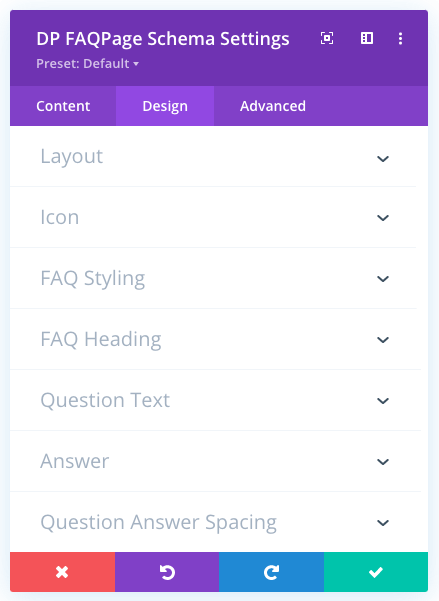 FAQPage Schema Global Design settings