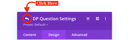 Return icon in the Divi Plus FAQPage Schema module