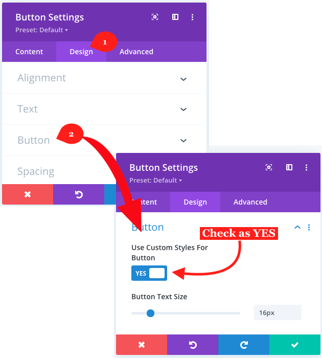 Applying sticky option in Divi button