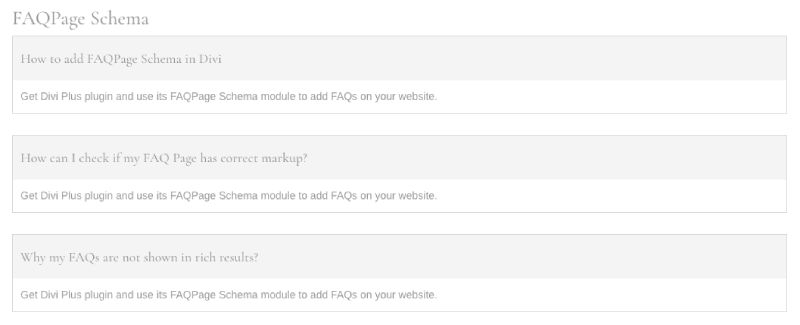 FAQ Page Schema in grid format