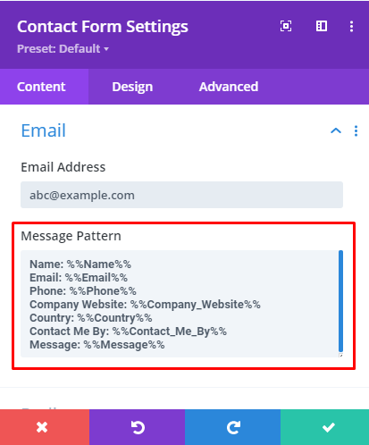 Divi contact form custom message pattern