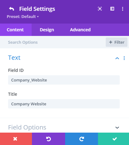 Divi contact form field settings