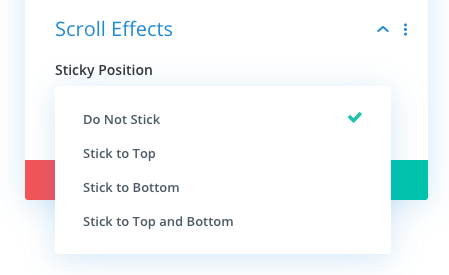 Divi sticky feature and available options