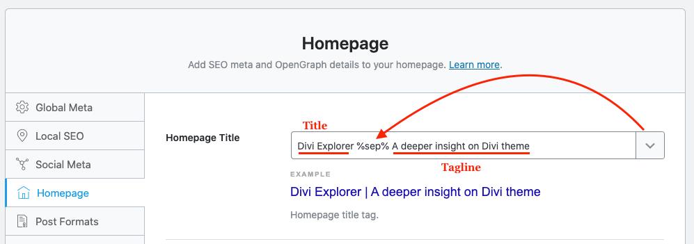 Rank Math SEO website title and tagline change