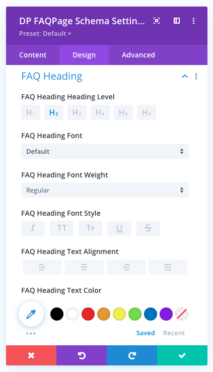 Settings for heading of the FAQ Page Schema