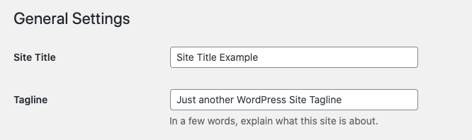 Site title and tagline settings in the WordPress General settings area