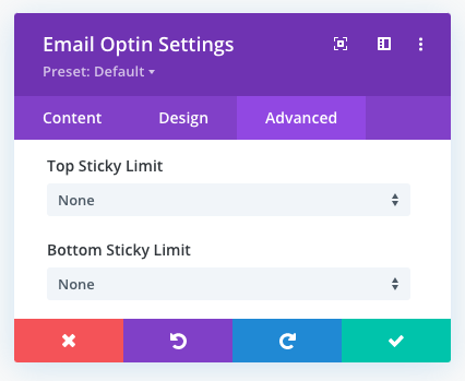 Sticky limit options in the Divi theme