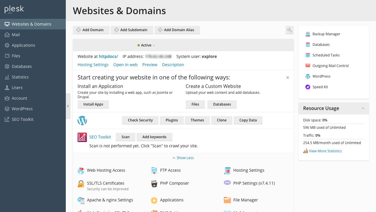 WordPress site's server