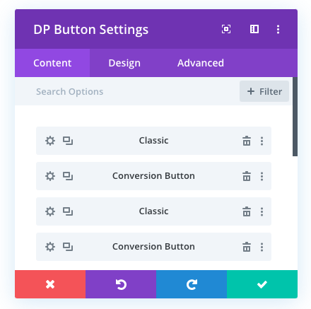 advanced button with multiple button options