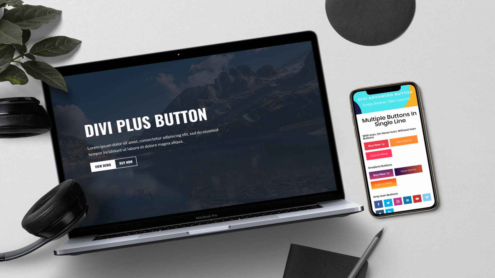 divi plus advanced button