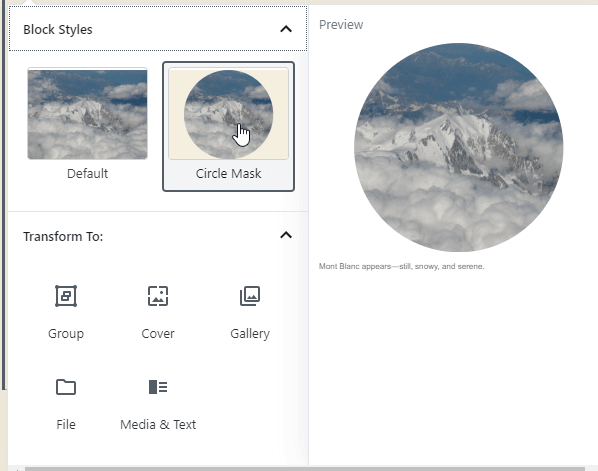 WordPress 5.3 Circle Style for Image block