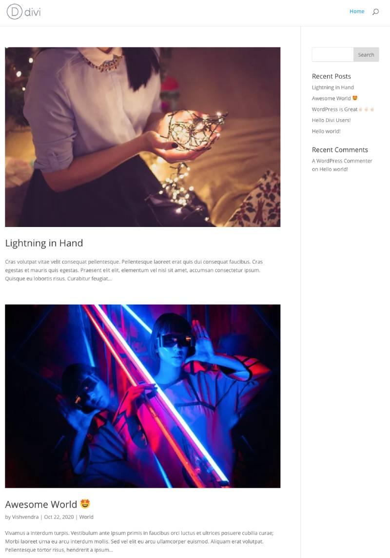 Default Divi blog page layout