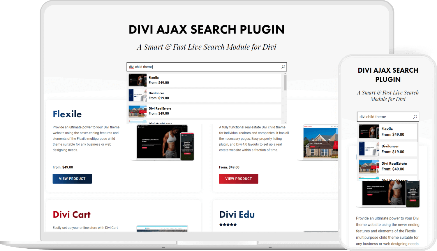 Divi Ajax Search