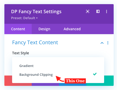 Fancy Text module background clipping option