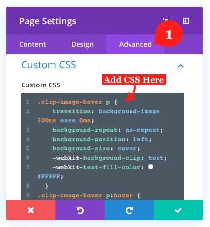 Page's advanced tab