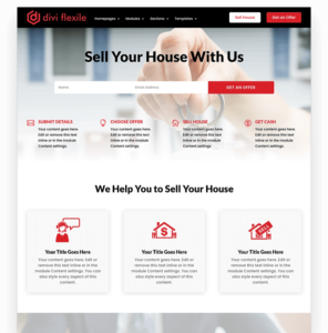 Real estate homepage layout