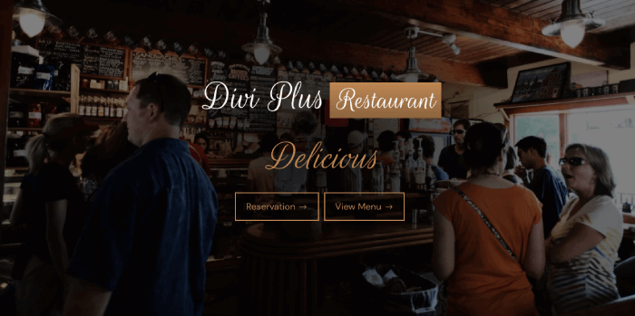 Restaurant Divi Plus starter template