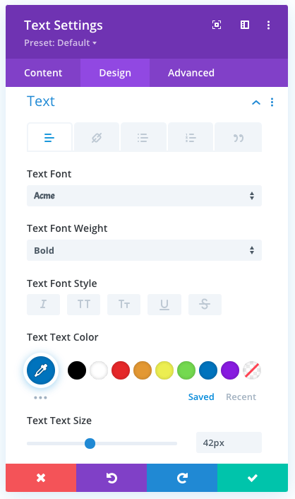 Text styling values for text over an image