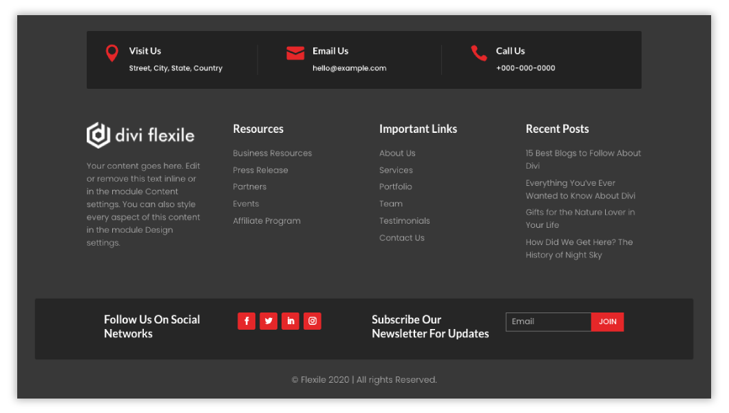 09 Divi footer from Divi Flexile Footers