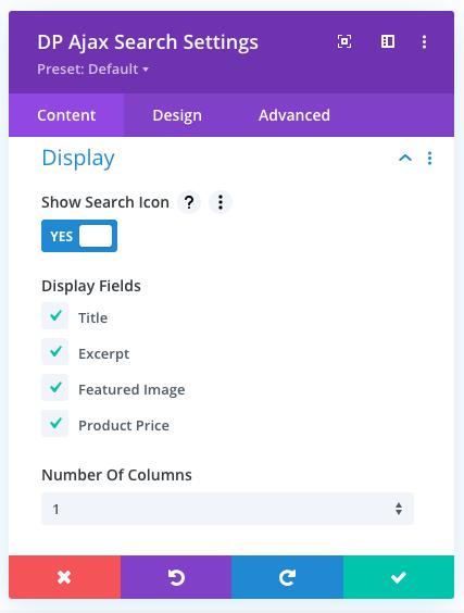 Ajax Search module Display area