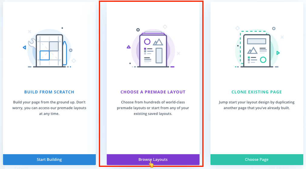 Choose premade layout option to install Divi layout on a page
