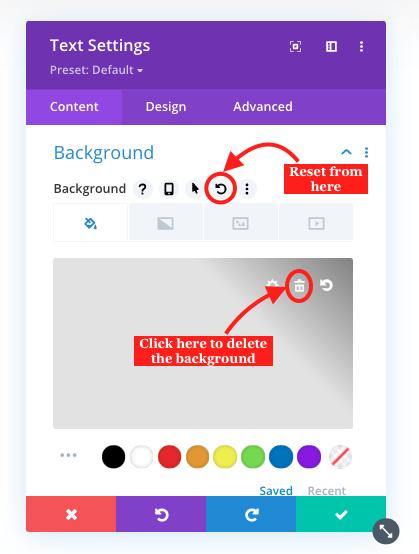 Delete or reset Divi module background