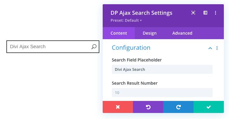 Divi Ajax Search placeholder text