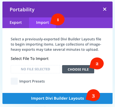 Divi Library import option
