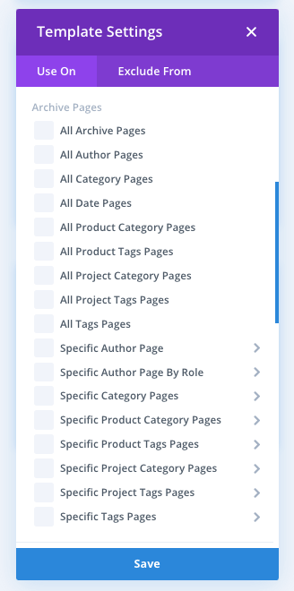 Divi theme builder archive assignment list