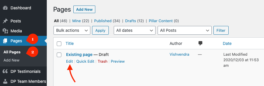Edit an existing page in WordPress