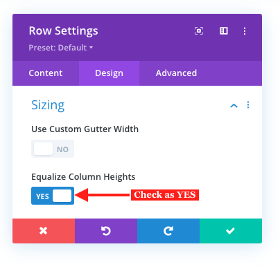 Equalize column heights in Divi