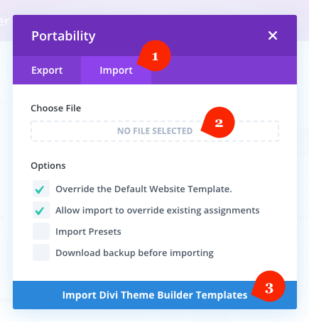 Importing Divi Theme Builder template for post layout
