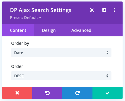 Order By and Order option in the ajax search module