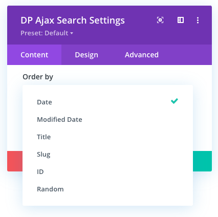 Order By options list in the Ajax Search module for Divi