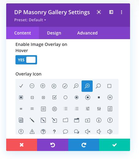 Masonry gallery settings with overlay icon