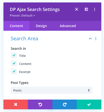 Search area option of the ajax search module for Divi