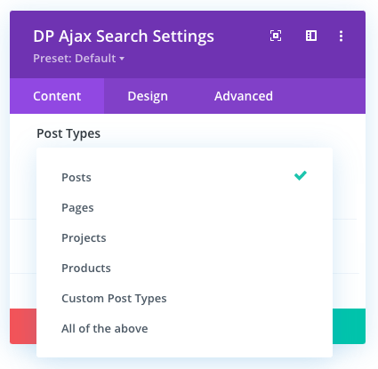 Search in post type for the ajax search module
