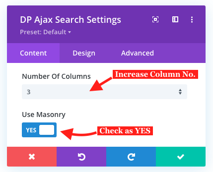 Search results in masonry layout
