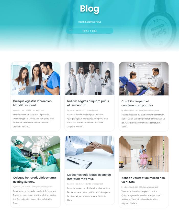 Blog in Divi Plus Medical Child Theme